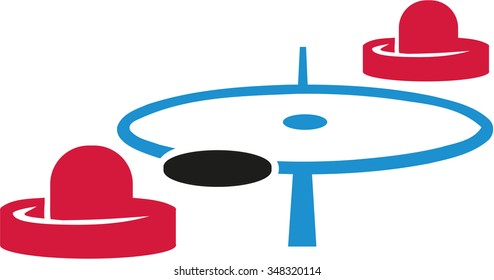 Air hockey field with mallets and puck