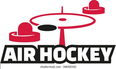 Air hockey field with word
