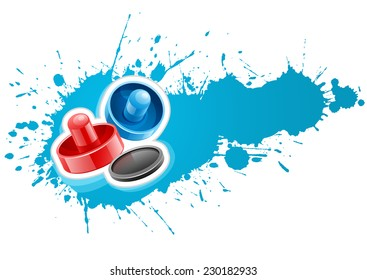 Air hockey mallets and puck for playing game over paint splash with blot drops. Eps10 vector illustration. Isolated on white background