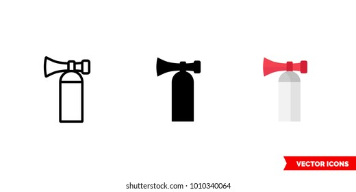 Air horn icon of 3 types: color, black and white, outline. Isolated vector sign symbol.