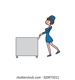 Air hostess cabin attendant in service