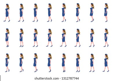 Air hostess girl walk cycle animation sprites, Loop animation.