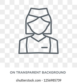 Air hostess icon. Trendy flat vector Air hostess icon on transparent background from Professions collection. High quality filled Air hostess symbol use for web and mobile