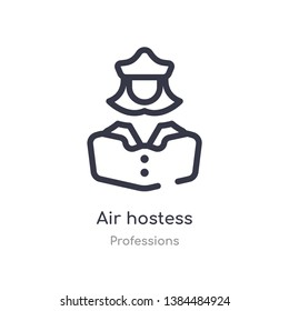 air hostess outline icon. isolated line vector illustration from professions collection. editable thin stroke air hostess icon on white background