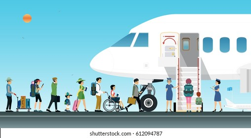 Air Hostess is welcoming passengers on board.