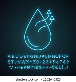 Air humidification conditioner function neon light icon. Water evaporation. Air humidifier. Glowing sign with alphabet, numbers and symbols. Vector isolated illustration