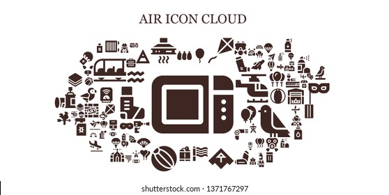air icon set. 93 filled air icons.  Simple modern icons about  - Microwave oven, Balloons, Heater, Extractor hood, Balloon, Kite, Rainbow, Airplane, Oxygen tank, Beach ball, Vane
