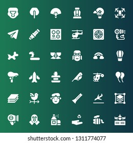 air icon set. Collection of 36 filled air icons included Airplane, Exhaust pipe, Levitation, Aerosol, Gas mask, Hairdryer, Layers, Landing, Flute, Militar, Vane, Balloon, Helicopter