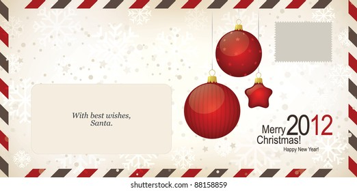 Air mail envelope, Christmas design. C6-C5 format