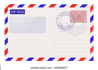 Air mail envelope with post stamps. Vector illustration isolated on white background
