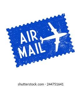 Air mail, grunge stamp, vector illustration