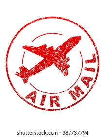 Air mail grunge style vector rubber stamp with silhouette of flying airplane