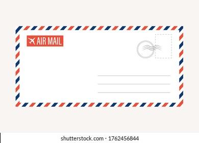 air mail letter vector. post stamp. airmail frame postcard. blue red stripes pattern. mockup template envelope. on white background. retro vintage blank message. world international