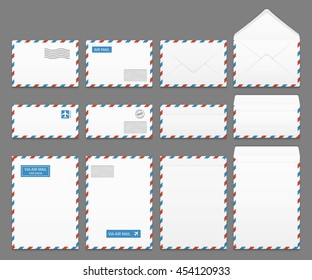Air mail paper letter envelopes vector set. Blank envelope for airmail, illustration of correspondence envelopes