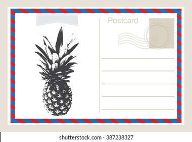 Air mail postcard .Vector postcard with pineapple.