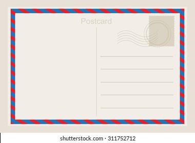 Air mail postcard .Vector template.
