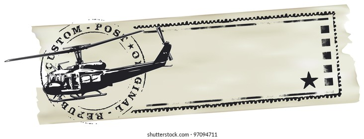 air mail stamp with helicopter world map and paper banner