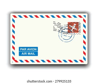 air mail with stamp and postmark