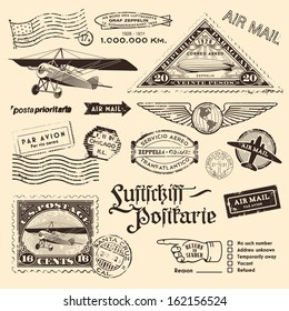 """air mail stamps and other postage design elements translation: """"Luftschiff-Postkarte"""" - """"airship-postcard"""", the zeppelin-shaped stamp refers to the 12th travel of an airship to South America in 1934"""