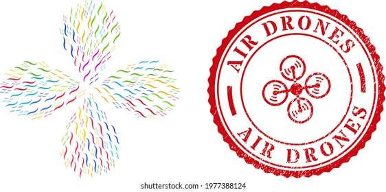 Air multi colored centrifugal flower with four petals, and red round AIR DRONES rough watermark. Air symbol inside round watermark. Object flower organized from random air items.