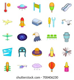 Air navigation icons set. Cartoon set of 25 air navigation vector icons for web isolated on white background