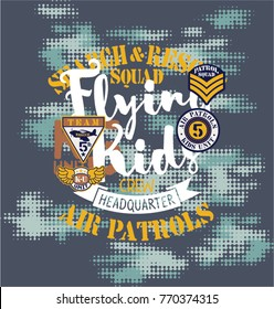 Air patrol flying kids crew, vector print for children wear with embroidery patches and camouflage background