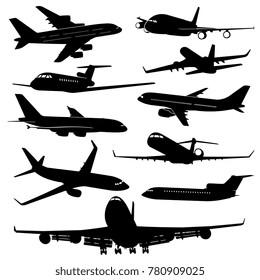Air plane, aircraft jet vector silhouettes. Set of plane monochrome black, transportation and travel illustration
