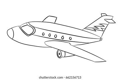 Air plane Black and White Cartoon Vector Illustration for Coloring Book - Line Drawn Vector