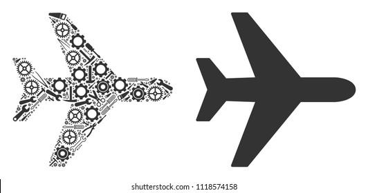 Air plane composition of workshop tools. Vector air plane icon is designed of cogwheels, spanners and other equipment objects. Concept of technician workshop.