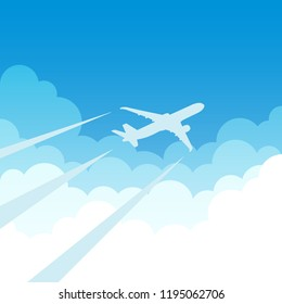 air plane flying on clouds and blue sky background. vector