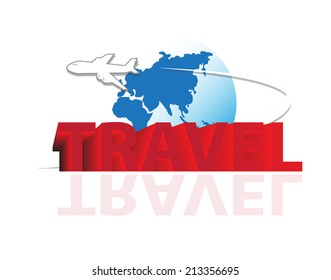 air plane flying with travel wording in vector format