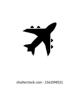 Air plane icon in lblack flat design, icon vector design illustration eps 10