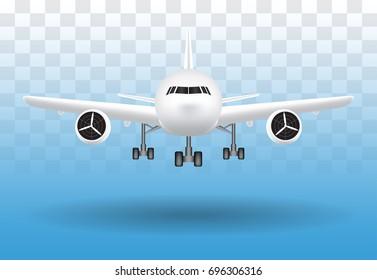 air plane landing on transparent background vector