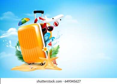 Air plane open luggage travel case with Starfish flower palm leaf sand beach element on blue sky and cloud background for summer tour concept with copy space vector illustration