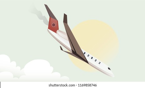 Air plane ready for landing sketch Vector illustration line art template. Plane flying ilanding,color.