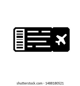 Air plane ticket silhouette icon. Clipart image isolated on white background