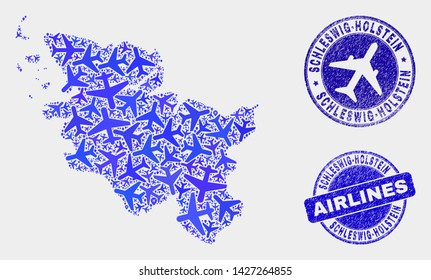 Air plane vector Schleswig-Holstein Land map collage and scratched watermarks. Abstract Schleswig-Holstein Land map is done with blue flat random air plane symbols and map locations.
