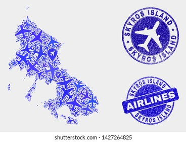 Air plane vector Skyros Island map composition and grunge stamps. Abstract Skyros Island map is composed from blue flat random air plane symbols and map locations. Transport plan in blue colors,
