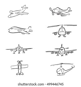 Air planes cartoon drawing icons