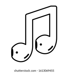 air pods music note concept isolated vector illustration