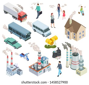 Air pollution. Chemical pollutants vehicle polluted air people acid radioactive oil rain and plant pollutions isometric 3d vector set. Illustration of rubbish and harm from chimney smog