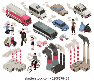 Air pollution in city isometric set with indusrty symbols isolated vector illustration