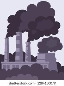 Air pollution concept. Factory smokestacks. Black smoke, air emissions. Flat vector illustration.