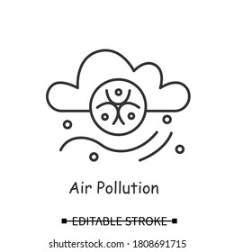 Air pollution icon. Cloud and wind stream with bio hazard line pictogram. Concept of industrial and chemical atmosphere pollution, co2 emission and lungs disease. Editable stroke vector illustration