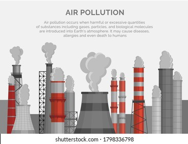 Air pollution poster, banner. Smoke emissions to atmosphere in industrial zone. Clouds of pollutants, gases are poured from plant, factory chimney-stalks. Vector illustration for ecological projects.