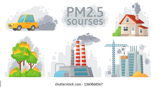 Air pollution source. PM 2.5 dust, dirty environment and polluted air sources infographic. Industrial outdoor fog, town pollution or city dust danger. Cartoon vector isolated symbols illustration set