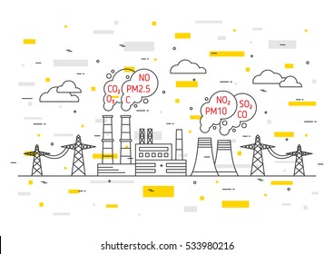 Air pollution vector illustration. Electric power station and toxic smog (smoke, fog) concept. Coal electricity industry with hazardous elements (co2, dioxide, carbon, no, no2, pm10) graphic design.