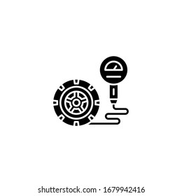 Air pressure in the wheels icon. Tire pressure gauge icon. Gauge, manometer. Car safe concept. Sign, wheel car with instrument measures.