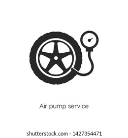 Air pump service icon vector. Air pump service symbol. Linear style sign for mobile concept and web design. Air pump service symbol illustration. Pixel vector graphics - Vector.