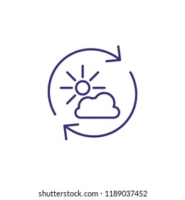 Air purification line icon. Sun, cloud, recycle. Environment concept. Can be used for topics like weather, ecology, nature
